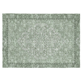 Tapis vintage vert plat rectangle Roseto