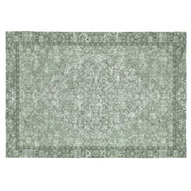 Tapis vintage vert plat rectangle Roseto
