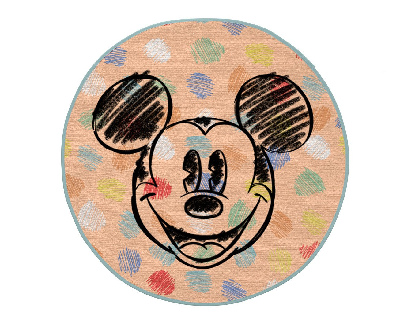 Tapis rond Disney lavable en machine multicolore Dots Mickey