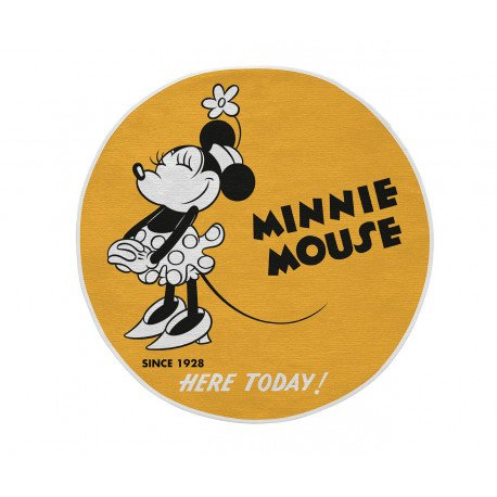 Tapis jaune rond lavable en machine Disney Minnie Mouse