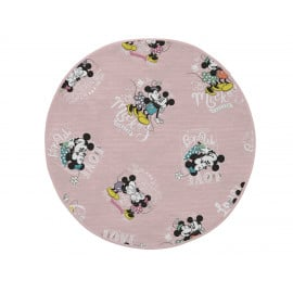 Tapis pour fille rond lavable en machine rose Disney True Love