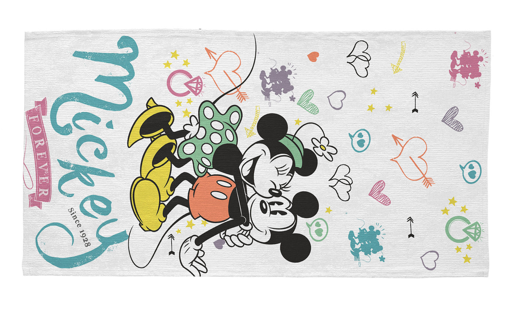 Tapis pour fille lavable en machine blanc Disney Mickey Forever