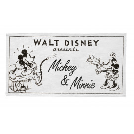 Tapis rectangle Disney blanc lavable en machine Old Mickey & Minnie