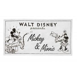 Tapis rectangle Disney blanc lavable en machine Old Mickey & Minnie