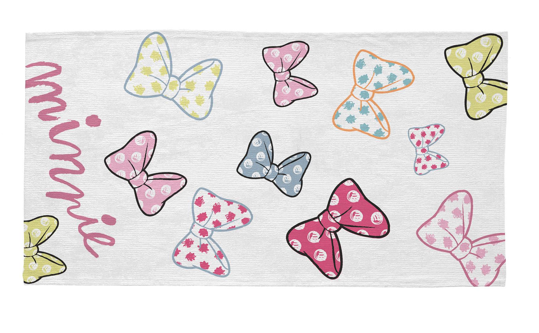 Tapis lavable en machine blanc Disney pour fille Ties Minnie