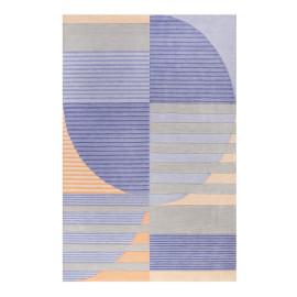 Tapis géométrique en polyester bleu Skybase Esprit