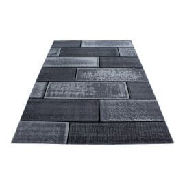 Tapis noir design pour salon rectangle Alandra