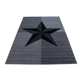 Tapis gris pour salon étoile design Hipora