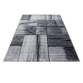 Tapis effet bois design noir Azureo