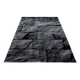 Tapis noir design pour salon rectangle Barkham