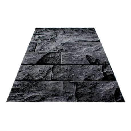 Tapis noir design pour salon rectangle Barkham
