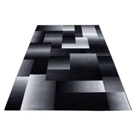 Tapis géométrique noir design Weso