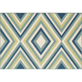 Tapis d'extérieur design bleu géométrique Florence