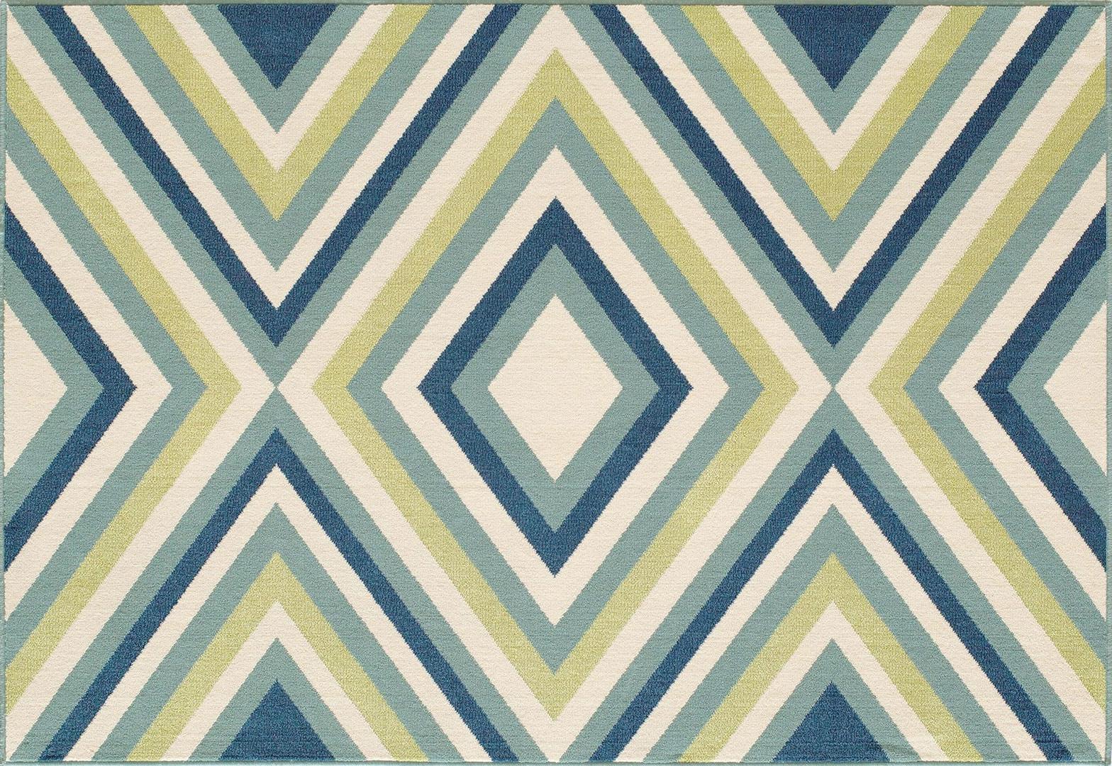 Tapis d'extérieur et d'intérieur design bleu géométrique Florence