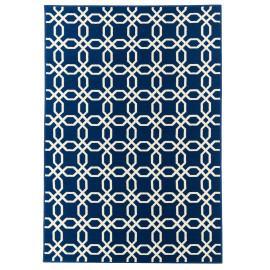 Tapis bleu marine de terrasse et de salon design Bari