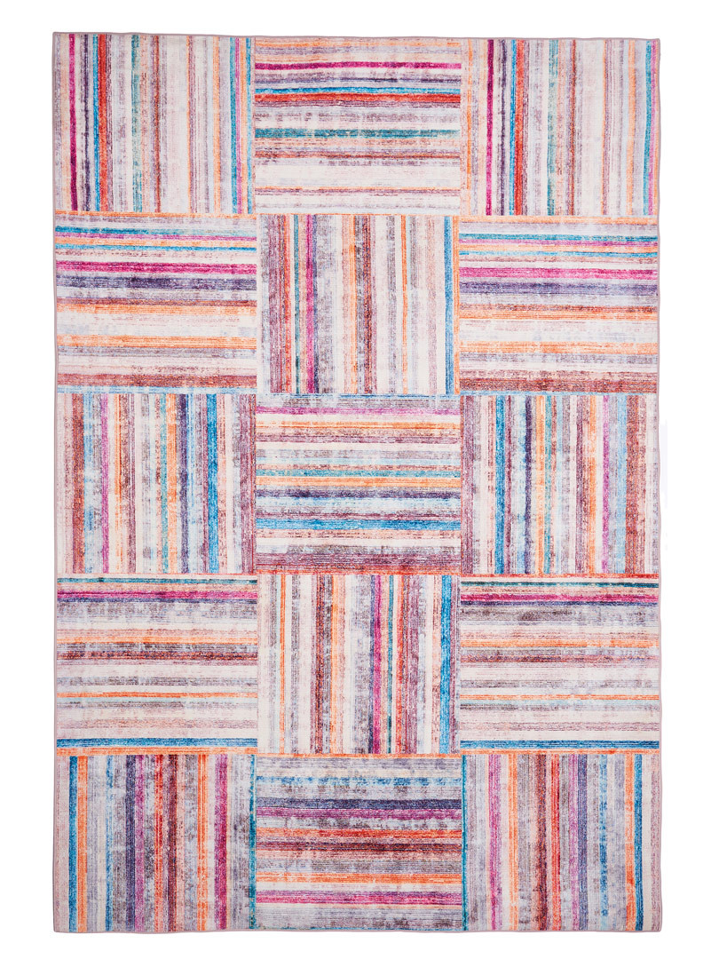 Tapis multicolore cubique design Bergame