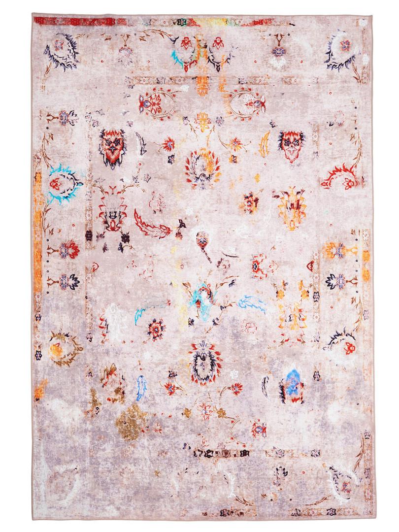 Tapis multicolore vintage en coton rayé Trente