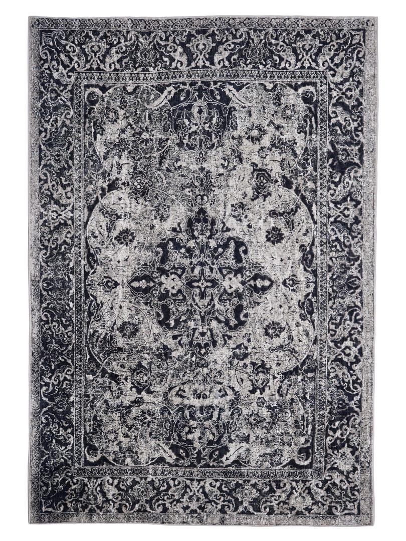 Tapis coton pour salon vintage gris rayé Udine