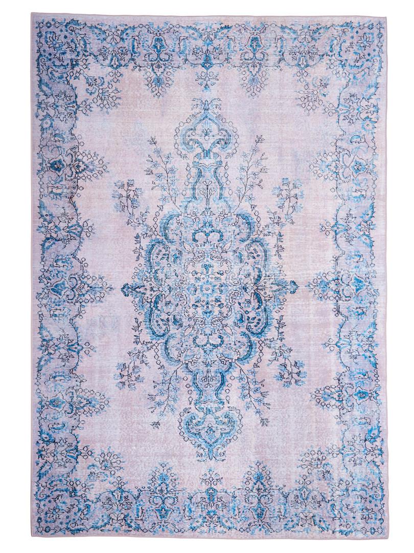 Tapis de salon bleu floral contemporain Pesaro