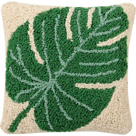 Coussin lavable en machine beige Monstera Lorena Canals