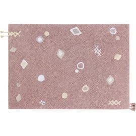 Tapis enfant lavable en machine rose Noah Lorena Canals