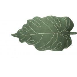 Coussin vert floral en coton Baby Leaf Lorena Canals