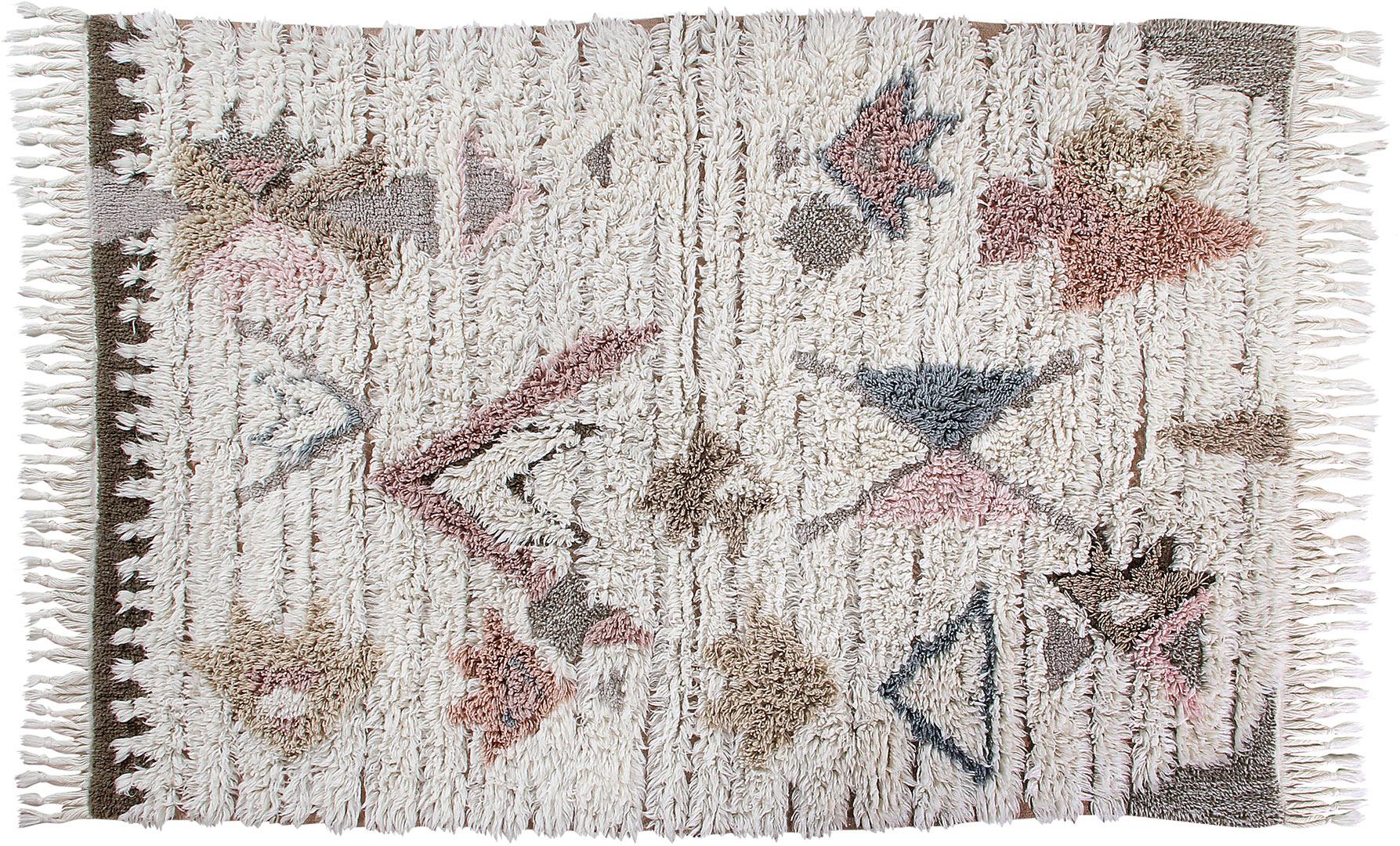 Tapis ethnique en laine lavable en machine ivoire Tuba Lorena Canals
