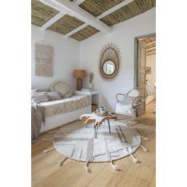 Tapis rond avec franges en laine lavable en machine Teepees Lorena Canals