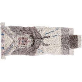 Tapis ethnique en laine lavable en machine avec franges beige Zuni Lorena Canals