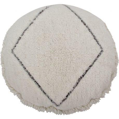 Pouf en laine beige ethnique Bereber Lorena Canals