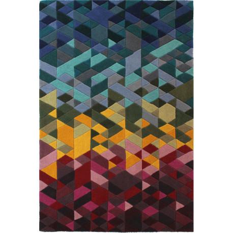 Tapis géométrique en laine scandinave multicolore Kingston
