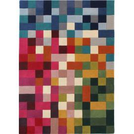 Tapis en laine géométrique multicolore moderne Lucea