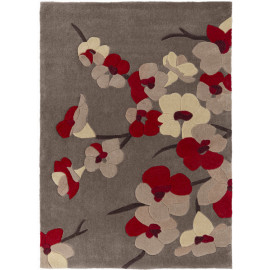 Tapis floral contemporain en polyester rectangle Blossom