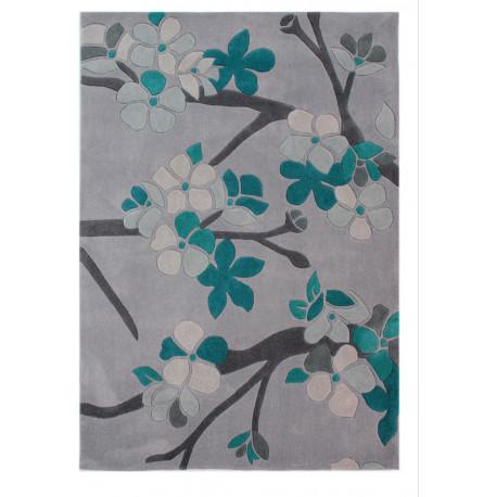 Tapis bleu contemporain floral en polyester Sakura