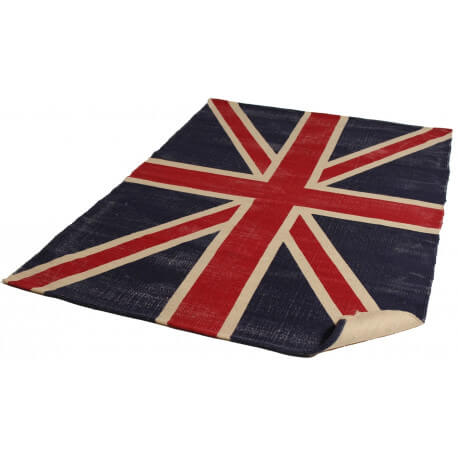 Tapis vintage en jute bleu et rouge English Flag