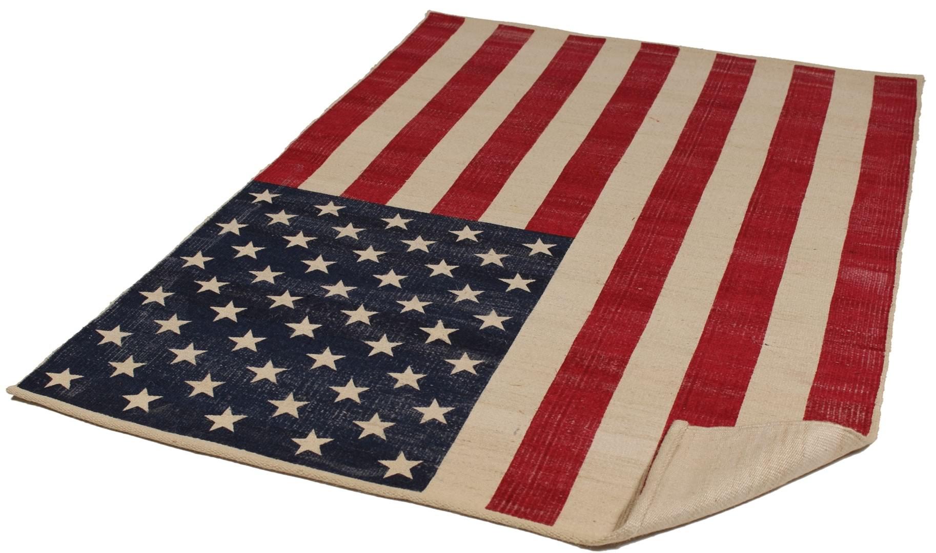 Tapis en jute rectangulaire American Flag