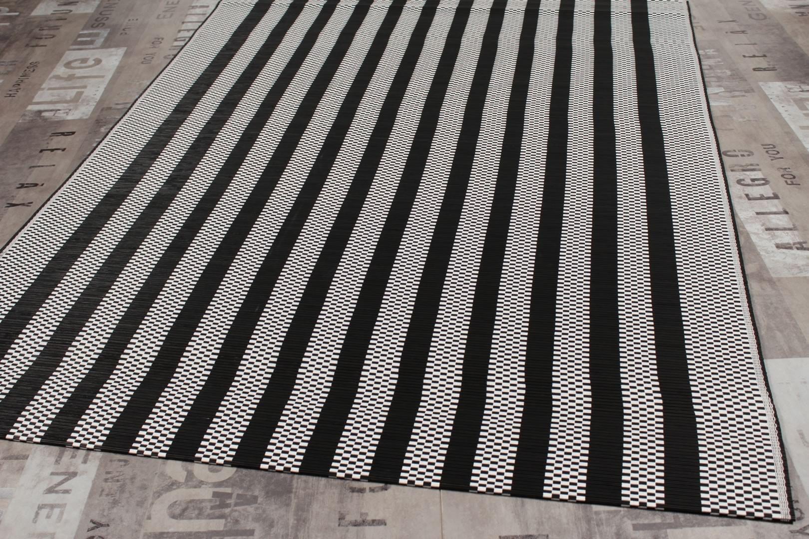 Tapis plat en bambou noir et blanc Irvin