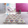 Tapis design rectangle avec franges multicolore Leonis