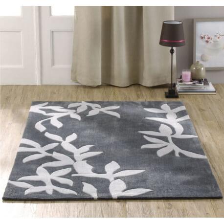 Tapis en polyester gris pour salon Amond