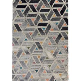 Tapis multicolore effet 3D design géométrique en laine River