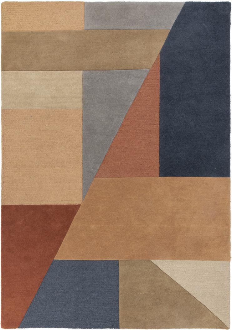 Tapis moderne en laine graphique multicolore Alwyn