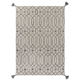 Tapis rectangle avec franges gris design graphique Pietro