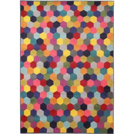 Tapis graphique multicolore design rectangle Hexagon