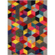 Tapis scandinave multicolore graphique pour salon Dynamic