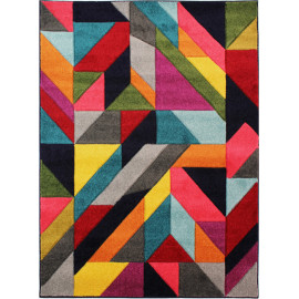 Tapis graphique rectangle pour salon design multicolore Jigsaw