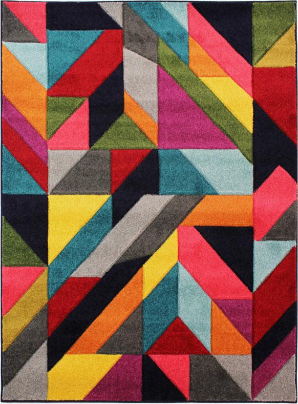 Tapis graphique rectangle pour salon design multicolore Jigsaw