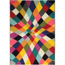 Tapis multicolore moderne rectangle à courtes mèches Rhumba