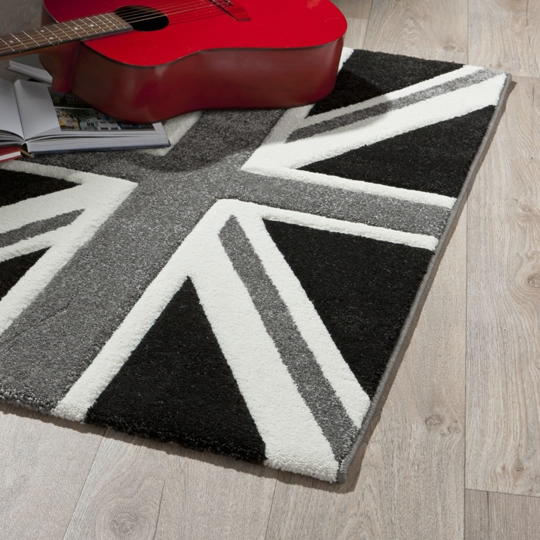 Tapis moderne polypropylène noir et blanc London City
