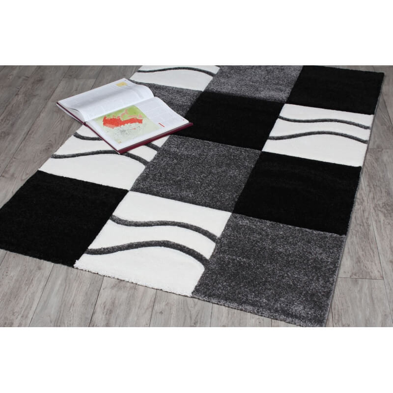 tapis courtes m ches noir et blanc manil. Black Bedroom Furniture Sets. Home Design Ideas