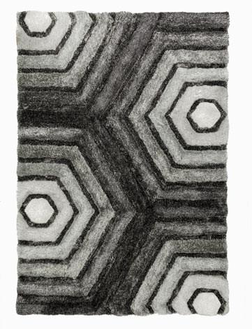 Tapis shaggy graphique effet 3D pour salon Hexagon